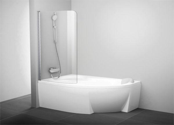 Шторка на ванну Ravak Rosa CVSK1 160/170 L Transparent, профиль блестящий
