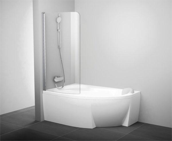 Шторка на ванну Ravak Rosa CVSK1 140/150 L Transparent, профиль сатин
