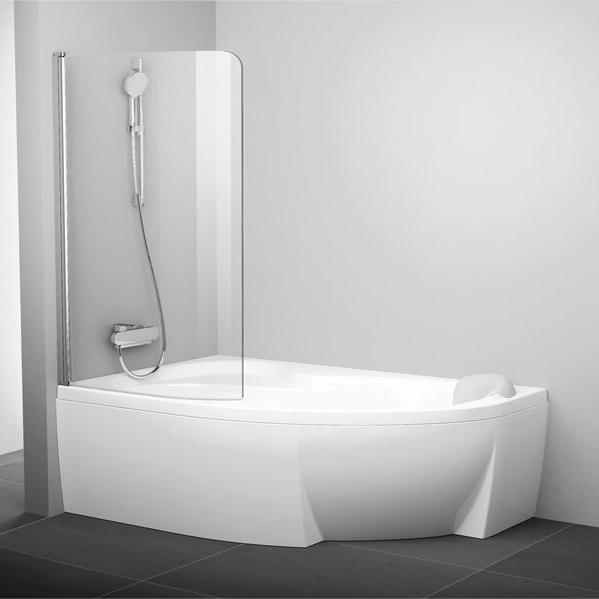 Шторка на ванну Ravak Rosa CVSK1 160/170 L Transparent, профиль сатин