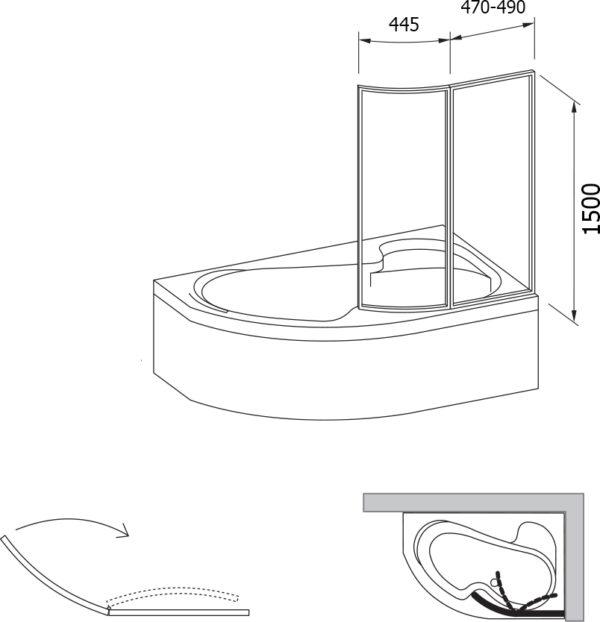 Шторка на ванну Ravak VSK2 Rosa 150 R Transparent