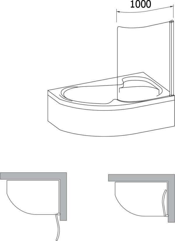 Шторка на ванну Ravak Rosa CVSK1 160/170 R Transparent, профиль блестящий