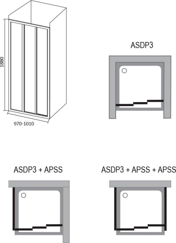 Душевая дверь в нишу Ravak ASDP3-100 Grape, профиль белый