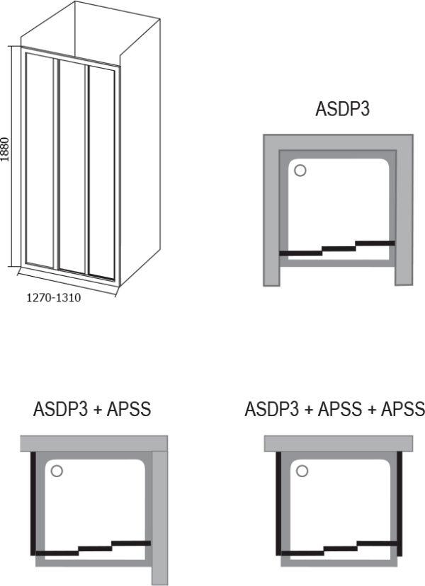 Душевая дверь в нишу Ravak ASDP3-120 Pearl, профиль белый