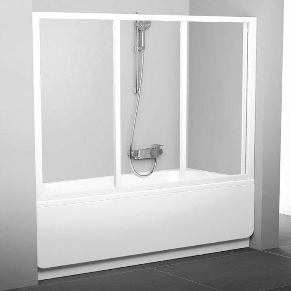 Шторка на ванну Ravak AVDP3-180 Transparent, профиль белый