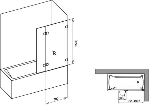 Шторка на ванну Ravak BVS2-100 R Transparent, фурнитура хром