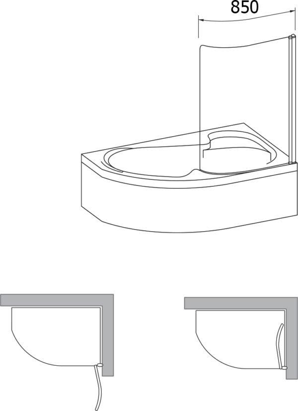 Шторка на ванну Ravak Rosa CVSK1 140/150 R Transparent, профиль белый