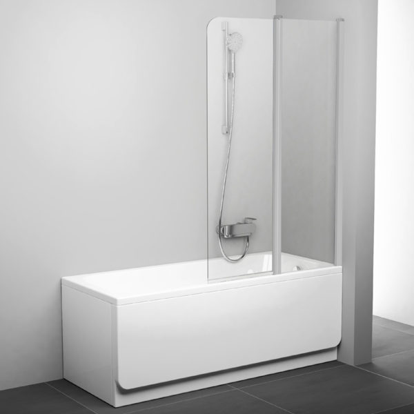 Шторка на ванну Ravak CVS2-100 R Transparent, профиль сатин
