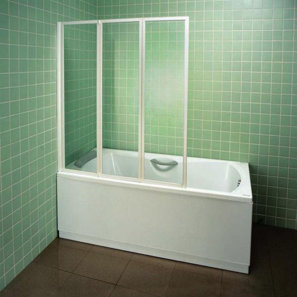 Шторка на ванну Ravak VS3 115 Transparent, профиль белый