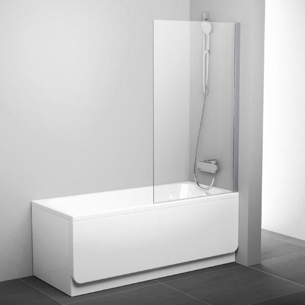 Шторка на ванну Ravak PVS1-80 Transparent, профиль сатин