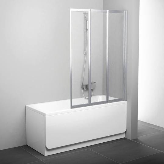 Шторка на ванну Ravak VS3 100 Transparent, профиль сатин
