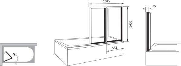 Шторка на ванну Ravak VS2 105 Transparent, профиль сатин