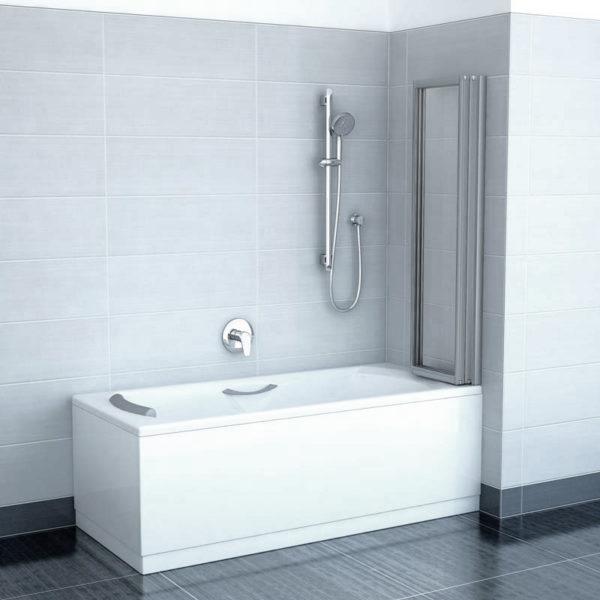 Шторка на ванну Ravak VS3 130 Transparent, профиль сатин