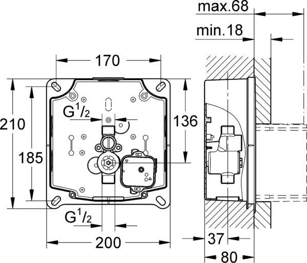 Привод бесконтактного смыва Grohe Tectron Skate 37321SD1 нержавеющая сталь