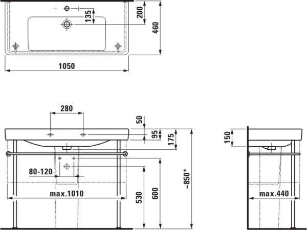 Раковина Laufen Pro S 8.1396.6.000.104.1 105 см
