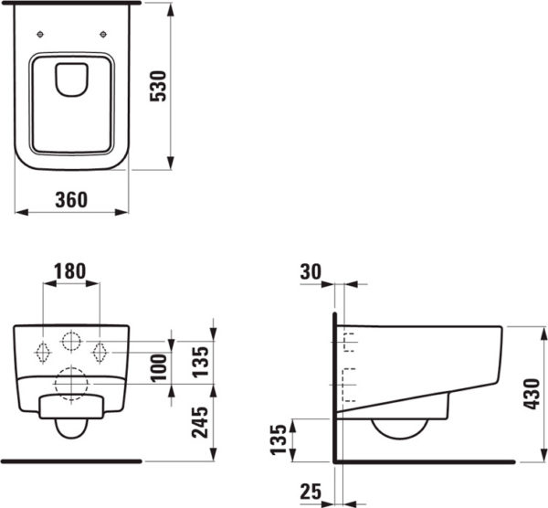 Унитаз подвесной Laufen Pro S Rimless 8.2096.2.000.000.1 без ободка