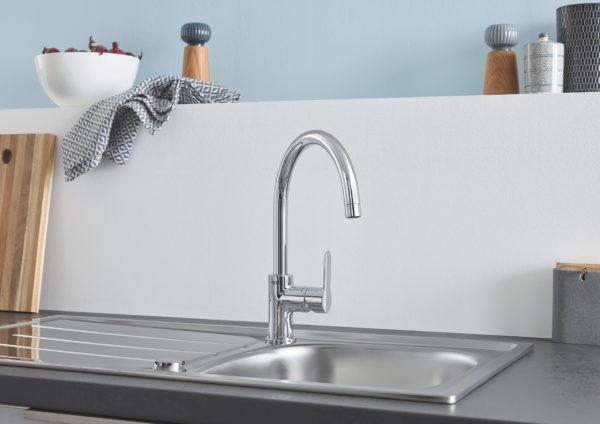 Комплект Grohe Bau 31562SD0 Мойка кухонная K200 31552SD0 + Смеситель BauEdge 31367000 для кухонной мойки