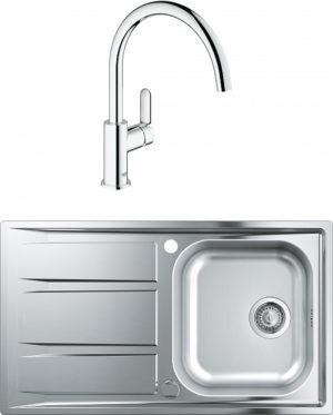 Комплект Мойка кухонная Grohe K400 31566SD0 + Смеситель Grohe BauEdge 31367000 для кухонной мойки
