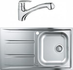 Комплект Мойка кухонная Grohe K400 31566SD0 + Смеситель Grohe Eurodisc 32257001 для кухонной мойки