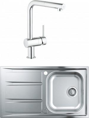 Комплект Мойка кухонная Grohe K400 31566SD0 + Смеситель Grohe Minta 32168000 для кухонной мойки