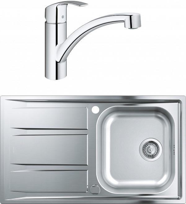 Комплект Мойка кухонная Grohe K400 31566SD0 + Смеситель Grohe Eurosmart 30260002 для кухонной мойки
