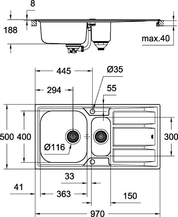 Мойка кухонная Grohe K400 31567SD0