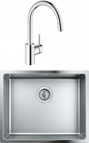 Комплект Мойка кухонная Grohe K700U 31574SD0 + Смеситель Grohe Concetto 32663001 для кухонной мойки