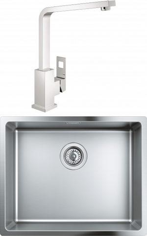 Комплект Мойка кухонная Grohe K700U 31574SD0 + Смеситель Grohe Eurocube 31255000 для кухонной мойки