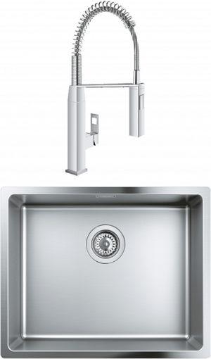 Комплект Мойка кухонная Grohe K700U 31574SD0 + Смеситель Grohe Eurocube 31395000 для кухонной мойки