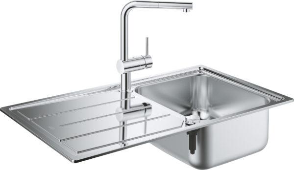 Комплект Grohe Minta 31573SD0 Мойка кухонная K500 31571SD0 + Смеситель Mint 32168000 для кухонной мойки