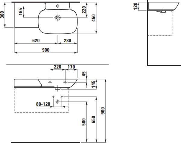 Раковина Laufen Ino 8.1330.1.000.104.1 90 см, полочка слева