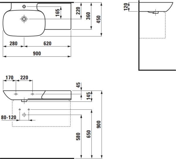 Раковина Laufen Ino 8.1330.2.000.104.1 90 см, полочка справа