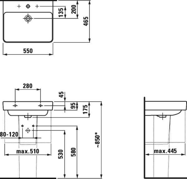 Раковина Laufen Pro S 8.1096.2.000.104.1 55 см