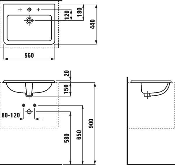 Раковина Laufen Pro S 8.1896.3.000.104.1 56 см