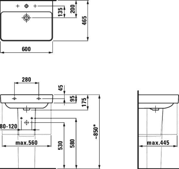 Раковина Laufen Pro S 8.1096.3.000.104.1 60 см