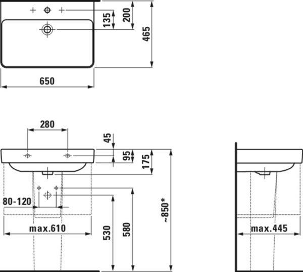 Раковина Laufen Pro S 8.1096.4.000.104.1 65 см