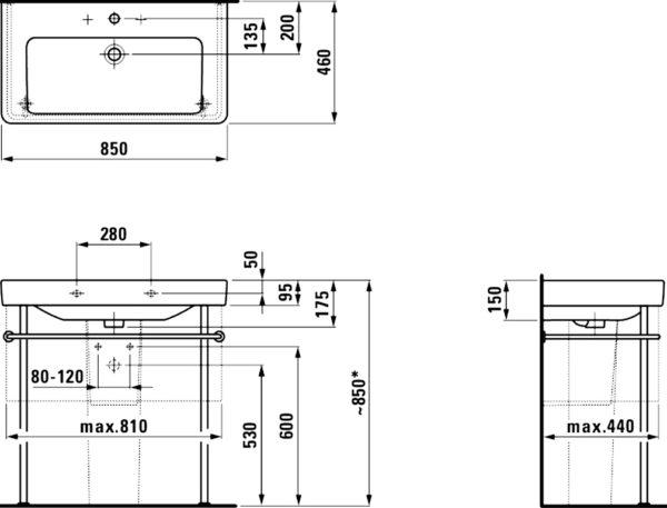 Раковина Laufen Pro S 8.1396.5.000.104.1 85 см