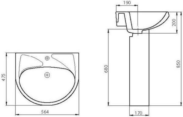 Раковина Santeri Вест 57 белый, с отверстием для смесителя