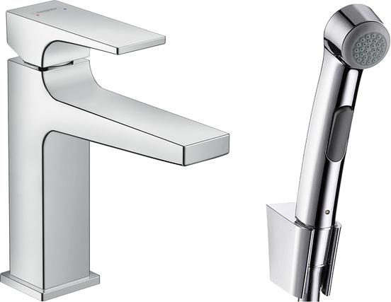 Смеситель Hansgrohe Metropol 32522000 для раковины с гигиеническим душем, с донным клапаном Push-Open
