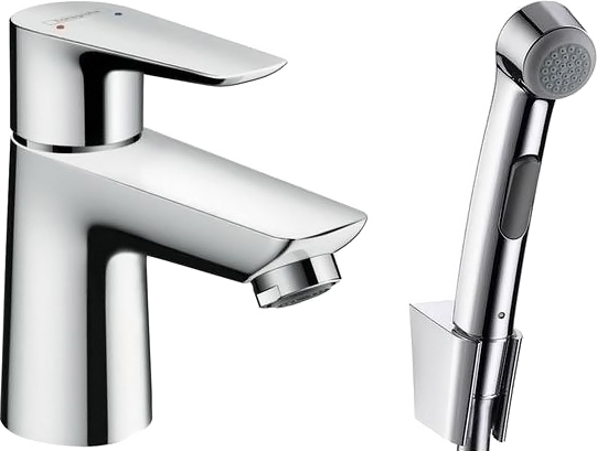 Смеситель Hansgrohe Talis E 71729000 для раковины с гигиеническим душем, с донным клапаном Push-Open
