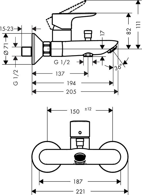 Душевой комплект Hansgrohe Talis E 71740000 для ванны с душем
