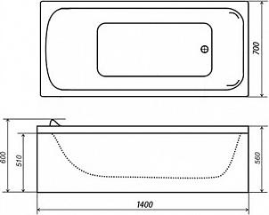 Акриловая ванна Triton Стандарт 140x70 см