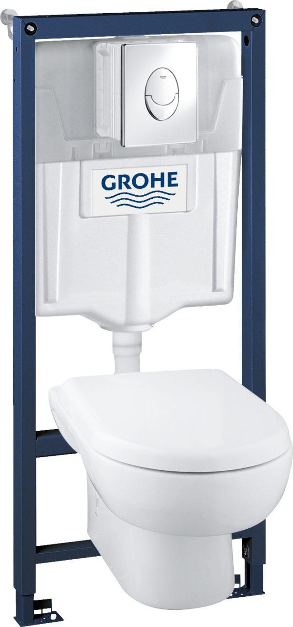 Комплект Grohe Solido 39191000 подвесной унитаз + инсталляция + кнопка