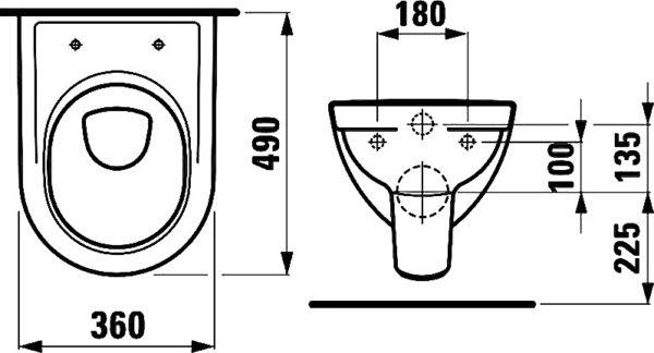 Унитаз подвесной Laufen Pro 2095.2.000.000.1 укороченный