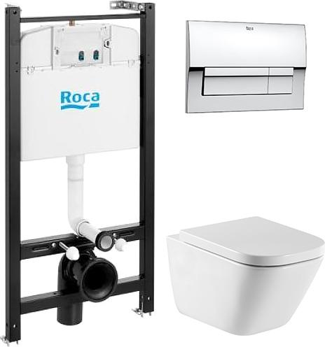 Комплект Roca Gap 7893104100 подвесной унитаз + инсталляция + кнопка