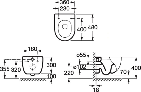 Унитаз подвесной Roca Meridian 346248000 укороченный