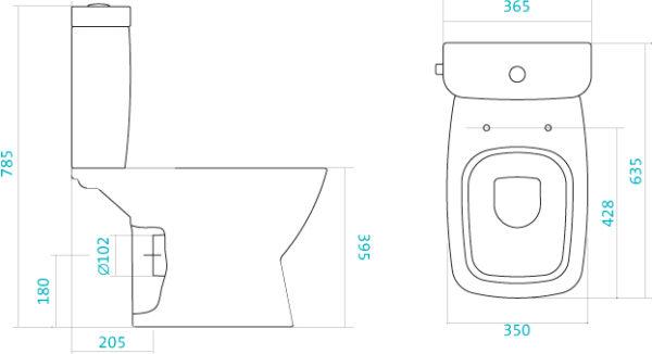 Унитаз-компакт Santek Нео 2PA ДС SC с горизонтальным выпуском