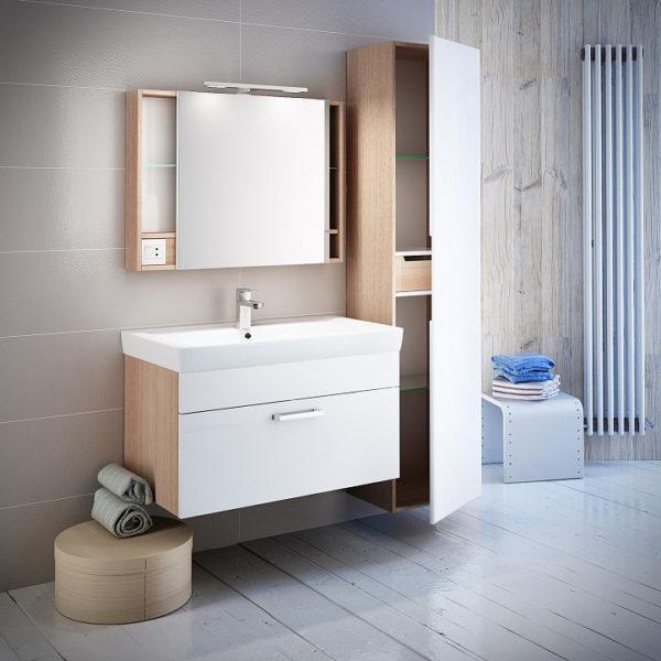 Мебель для ванной Iddis Mirro 80 подвесная, белая, дерево